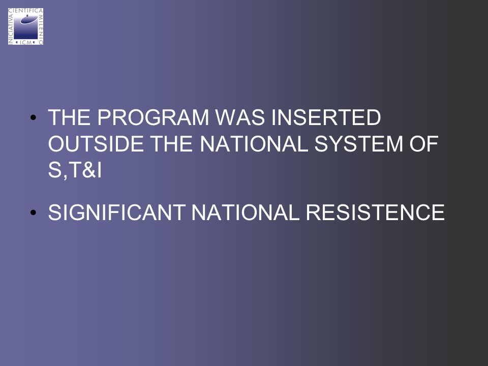 THE PROGRAM WAS INSERTED OUTSIDE THE NATIONAL SYSTEM OF S,T&I SIGNIFICANT NATIONAL RESISTENCE