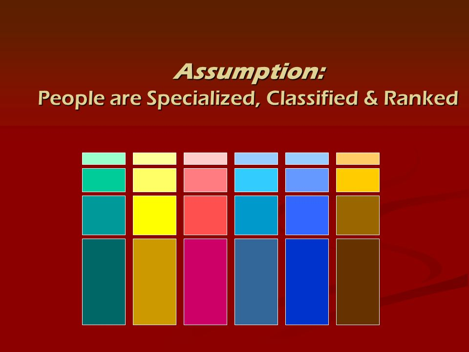 Assumption: People are Specialized, Classified & Ranked
