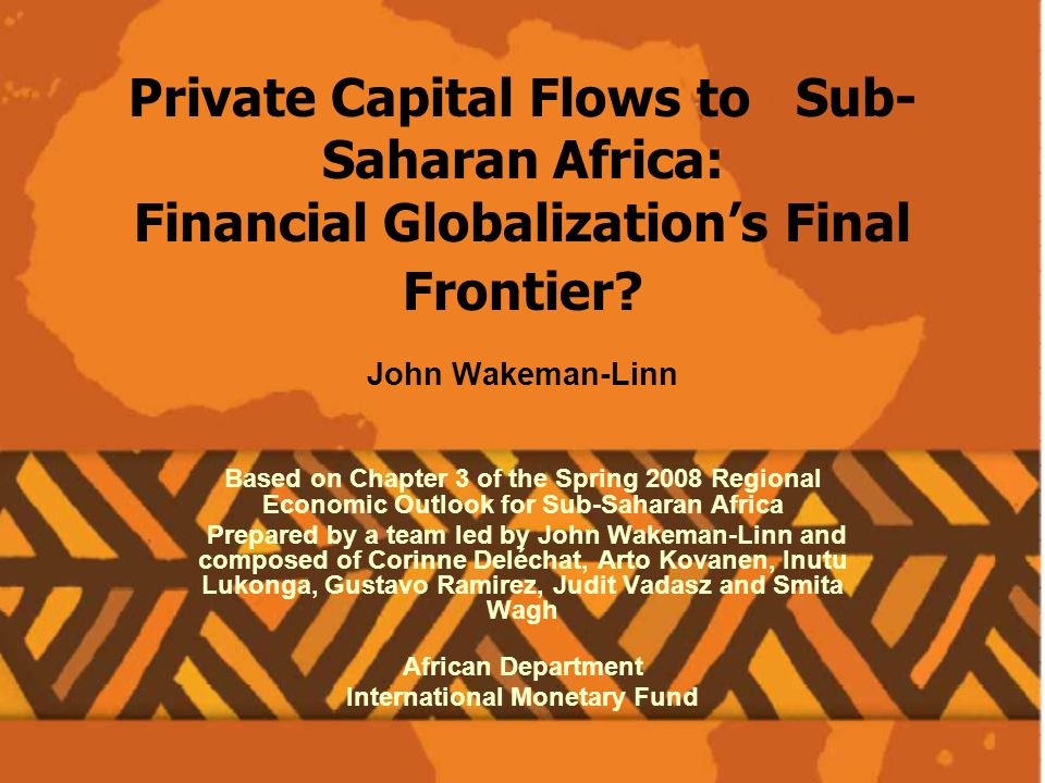 Private Capital Flows to Sub- Saharan Africa: Financial Globalizations Final Frontier.