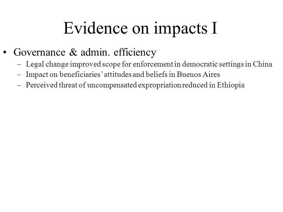 Evidence on impacts I Governance & admin.