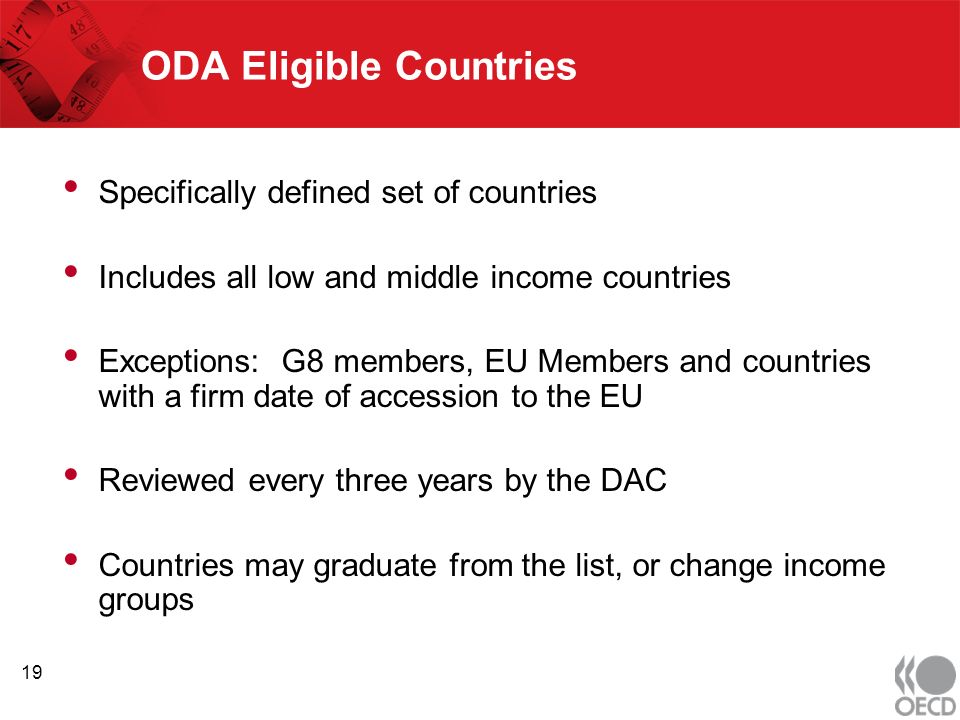 ODA Eligible Countries Specifically defined set of countries Includes all low and middle income countries Exceptions: G8 members, EU Members and countries with a firm date of accession to the EU Reviewed every three years by the DAC Countries may graduate from the list, or change income groups 19