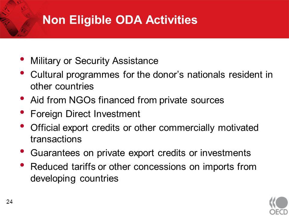 Non Eligible ODA Activities Military or Security Assistance Cultural programmes for the donors nationals resident in other countries Aid from NGOs financed from private sources Foreign Direct Investment Official export credits or other commercially motivated transactions Guarantees on private export credits or investments Reduced tariffs or other concessions on imports from developing countries 24