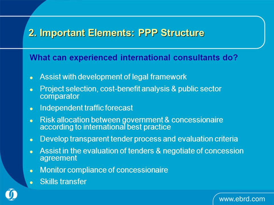 2. Important Elements: PPP Structure What can experienced international consultants do.