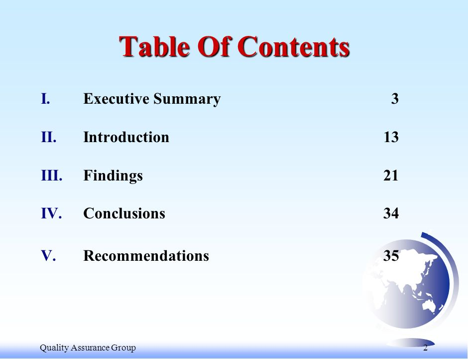 2 Table Of Contents I.Executive Summary3 II.Introduction13 III.Findings21 IV.Conclusions34 V.Recommendations35