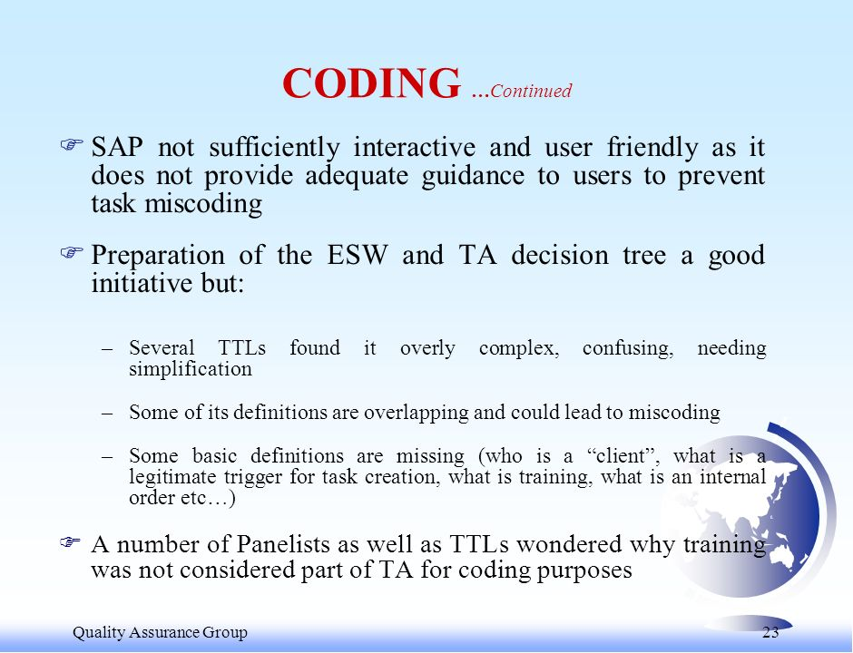 Quality Assurance Group 23 CODING …Continued FSAP not sufficiently interactive and user friendly as it does not provide adequate guidance to users to prevent task miscoding FPreparation of the ESW and TA decision tree a good initiative but: –Several TTLs found it overly complex, confusing, needing simplification –Some of its definitions are overlapping and could lead to miscoding –Some basic definitions are missing (who is a client, what is a legitimate trigger for task creation, what is training, what is an internal order etc…) FA number of Panelists as well as TTLs wondered why training was not considered part of TA for coding purposes
