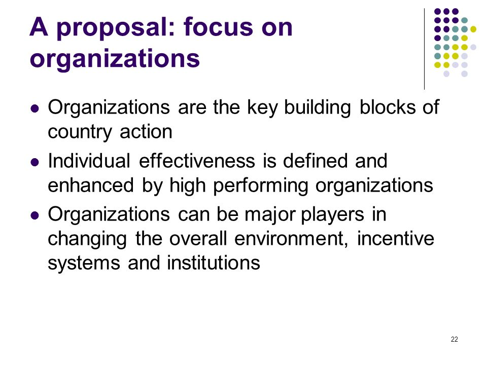 22 A proposal: focus on organizations Organizations are the key building blocks of country action Individual effectiveness is defined and enhanced by high performing organizations Organizations can be major players in changing the overall environment, incentive systems and institutions