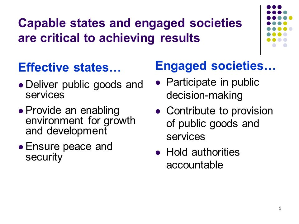9 Capable states and engaged societies are critical to achieving results Effective states… Deliver public goods and services Provide an enabling environment for growth and development Ensure peace and security Engaged societies… Participate in public decision-making Contribute to provision of public goods and services Hold authorities accountable