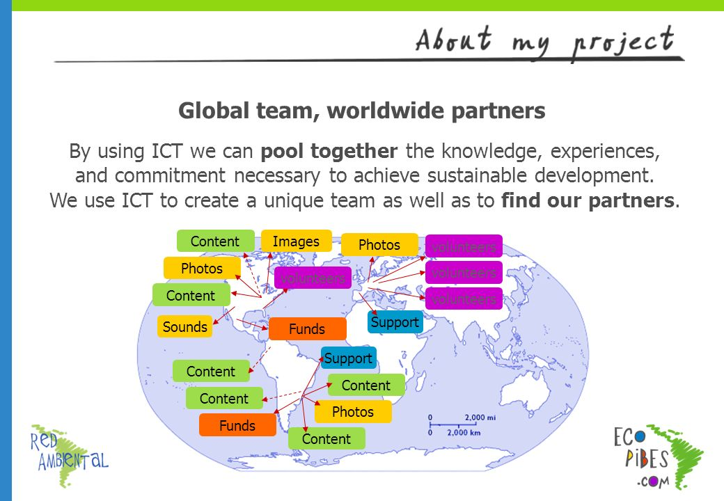 Global team, worldwide partners By using ICT we can pool together the knowledge, experiences, and commitment necessary to achieve sustainable development.