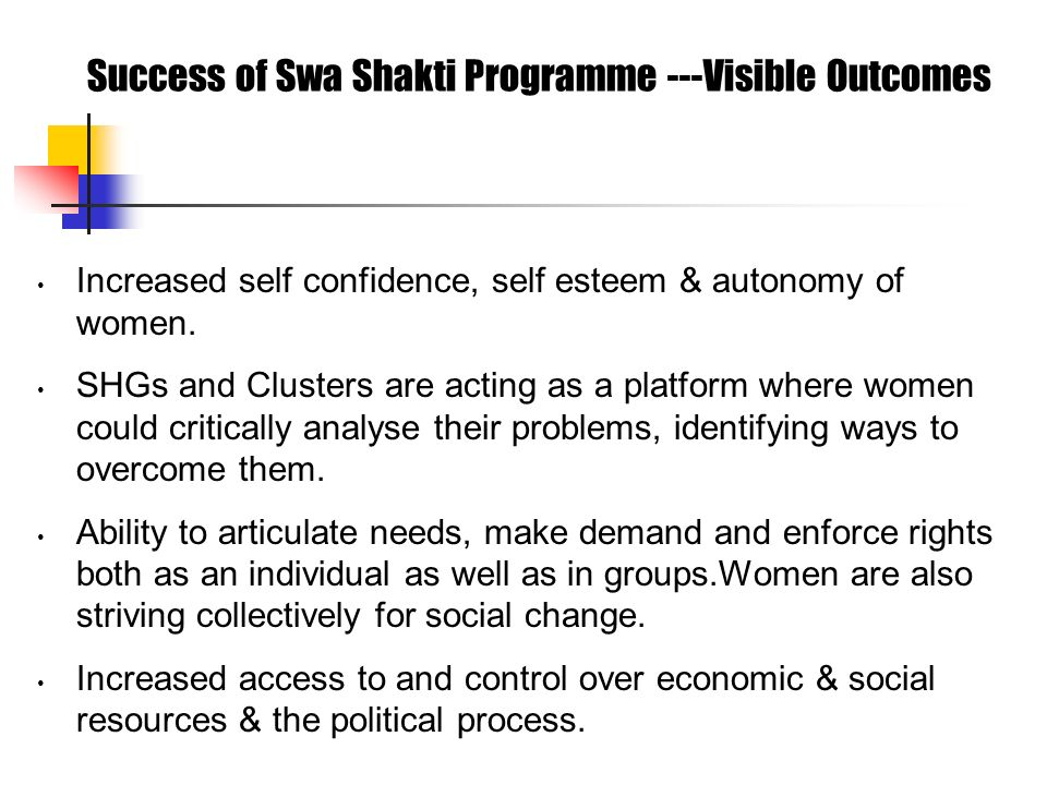Success of Swa Shakti Programme ---Visible Outcomes Increased self confidence, self esteem & autonomy of women.