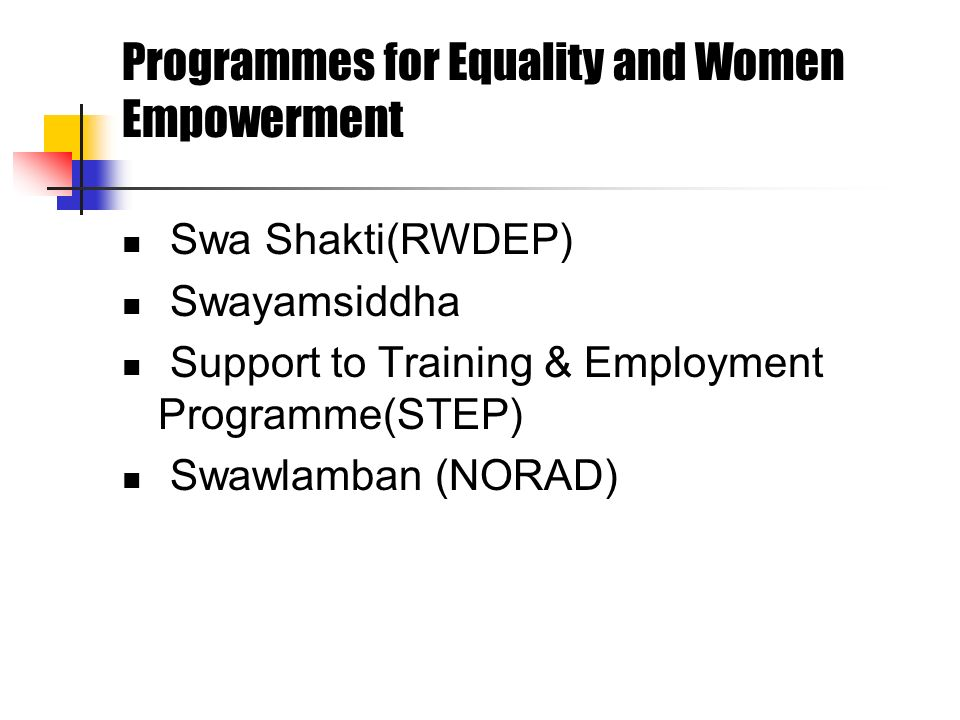 Programmes for Equality and Women Empowerment Swa Shakti(RWDEP) Swayamsiddha Support to Training & Employment Programme(STEP) Swawlamban (NORAD)