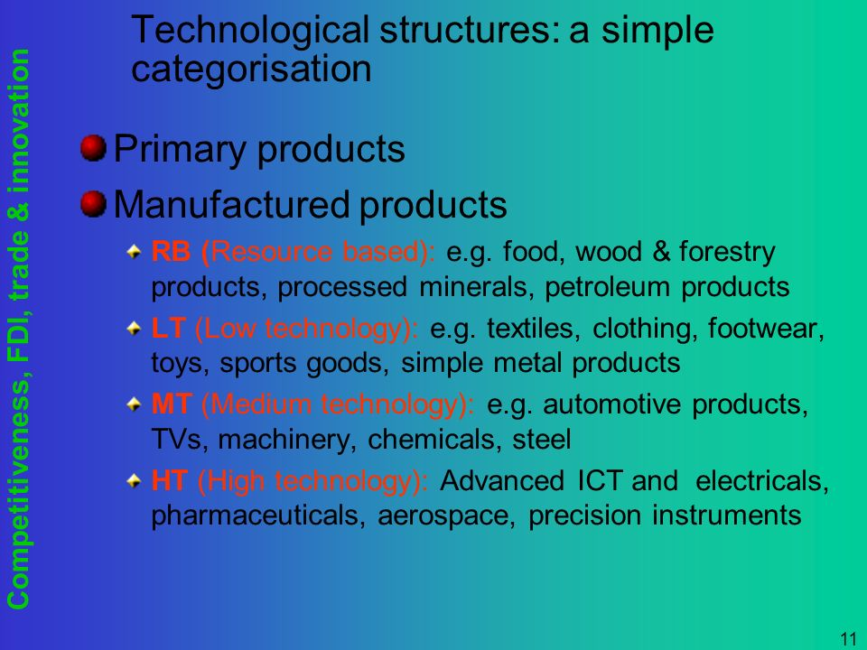 Competitiveness, FDI, trade & innovation 11 Technological structures: a simple categorisation Primary products Manufactured products RB (Resource based): e.g.