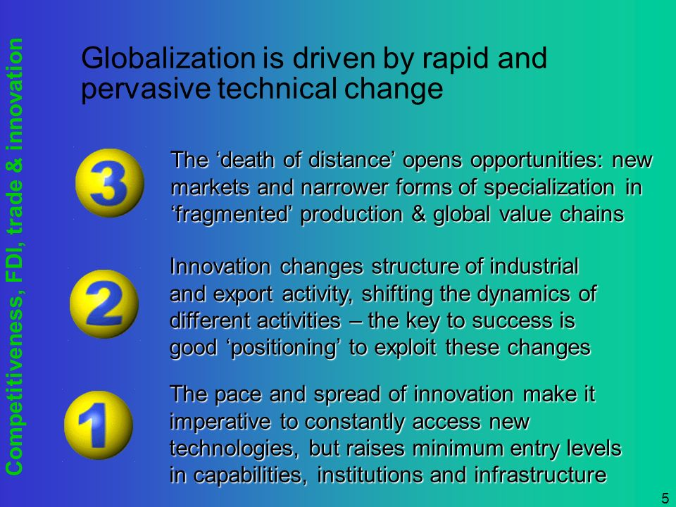 Competitiveness, FDI, trade & innovation 5 Globalization is driven by rapid and pervasive technical change The pace and spread of innovation make it imperative to constantly access new technologies, but raises minimum entry levels in capabilities, institutions and infrastructure Innovation changes structure of industrial and export activity, shifting the dynamics of different activities – the key to success is good positioning to exploit these changes The death of distance opens opportunities: new markets and narrower forms of specialization in fragmented production & global value chains
