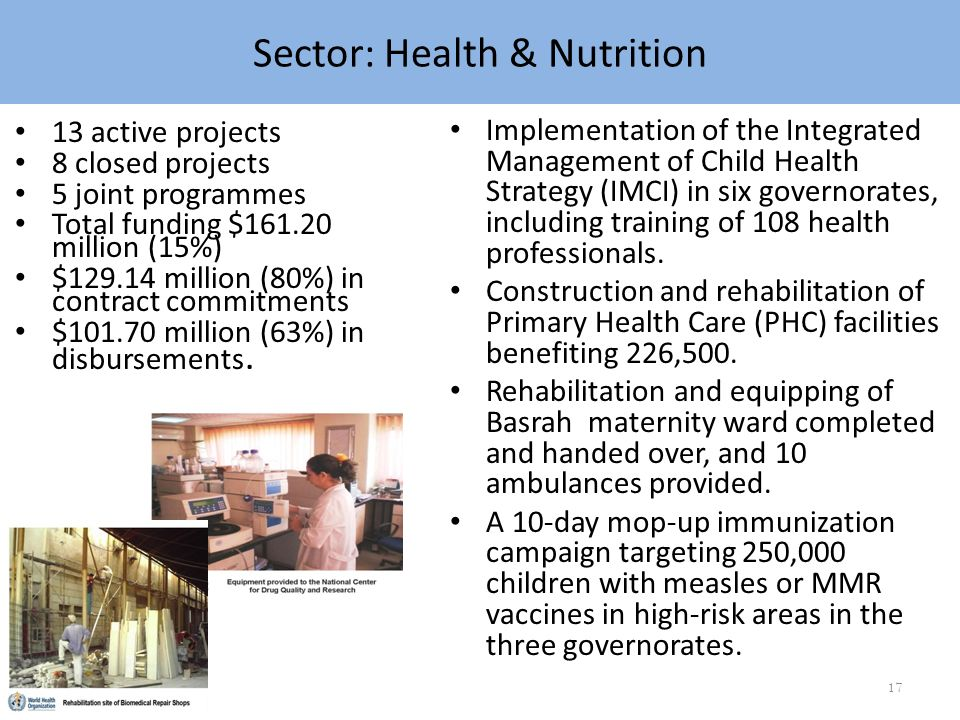 Sector: Health & Nutrition Implementation of the Integrated Management of Child Health Strategy (IMCI) in six governorates, including training of 108 health professionals.