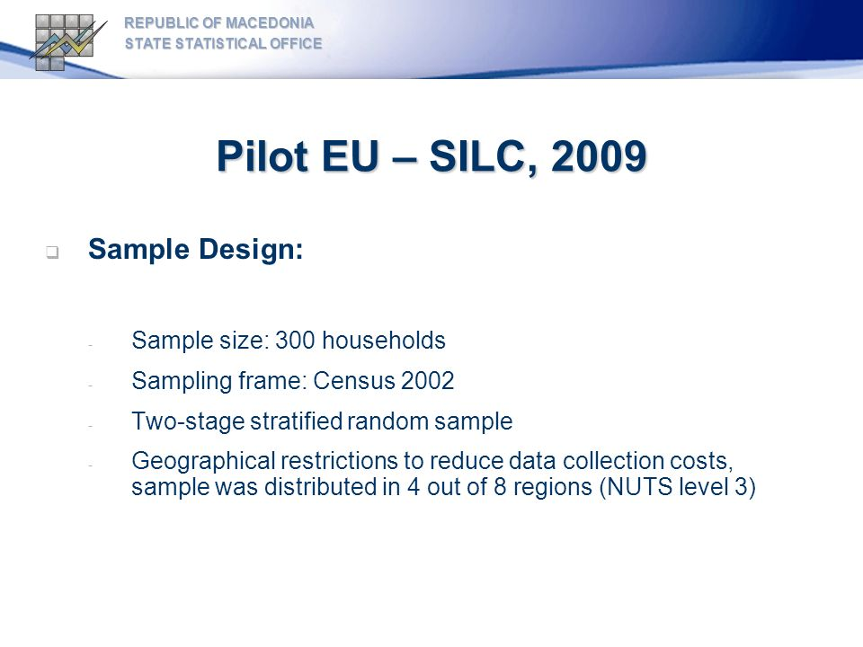 Pilot EU – SILC, 2009 REPUBLIC OF MACEDONIA STATE STATISTICAL OFFICE Sample Design: - Sample size: 300 households - Sampling frame: Census 2002 - Two-stage stratified random sample - Geographical restrictions to reduce data collection costs, sample was distributed in 4 out of 8 regions (NUTS level 3)