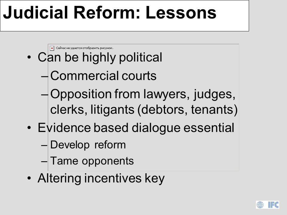 Judicial Reform: Bank Record Stand alone : –5 for 8 or.625 Africa components: –13 for 21 or.619