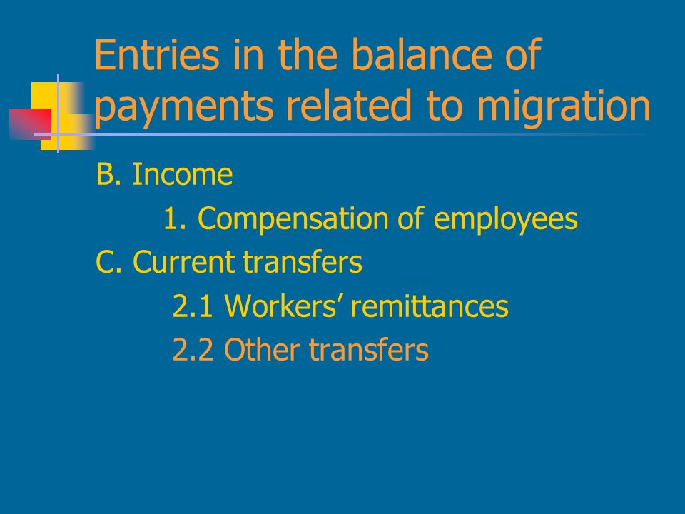 Entries in the balance of payments related to migration B.