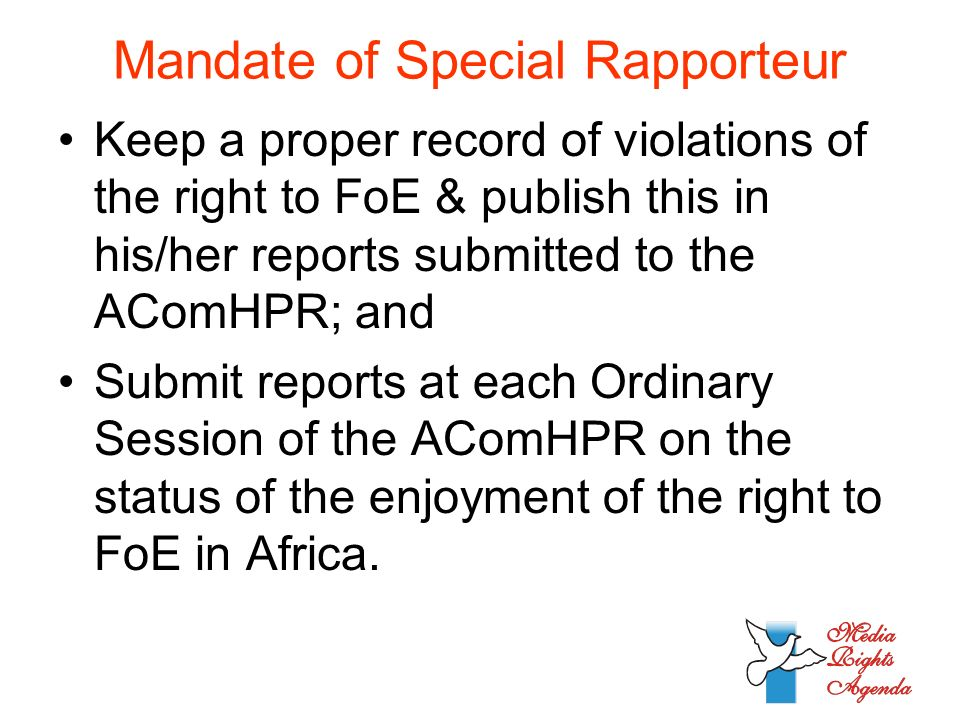 Mandate of Special Rapporteur Keep a proper record of violations of the right to FoE & publish this in his/her reports submitted to the AComHPR; and Submit reports at each Ordinary Session of the AComHPR on the status of the enjoyment of the right to FoE in Africa.