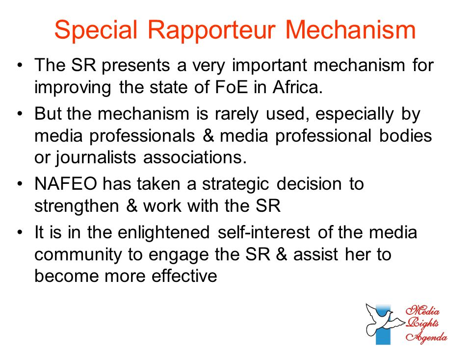 Special Rapporteur Mechanism The SR presents a very important mechanism for improving the state of FoE in Africa.