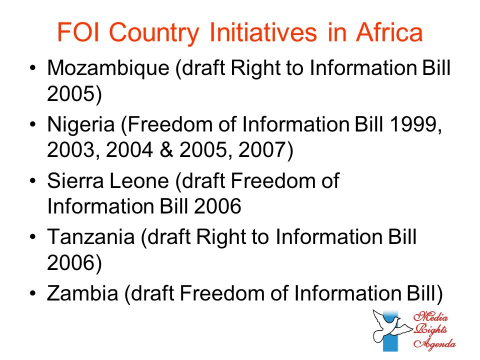 FOI Country Initiatives in Africa Mozambique (draft Right to Information Bill 2005) Nigeria (Freedom of Information Bill 1999, 2003, 2004 & 2005, 2007) Sierra Leone (draft Freedom of Information Bill 2006 Tanzania (draft Right to Information Bill 2006) Zambia (draft Freedom of Information Bill)
