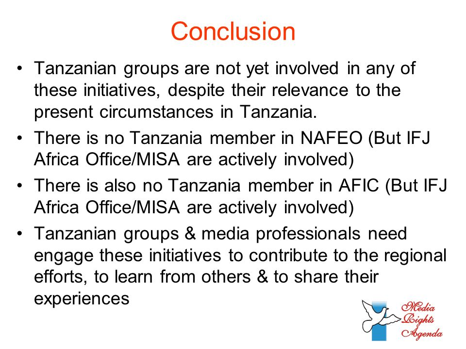 Conclusion Tanzanian groups are not yet involved in any of these initiatives, despite their relevance to the present circumstances in Tanzania.