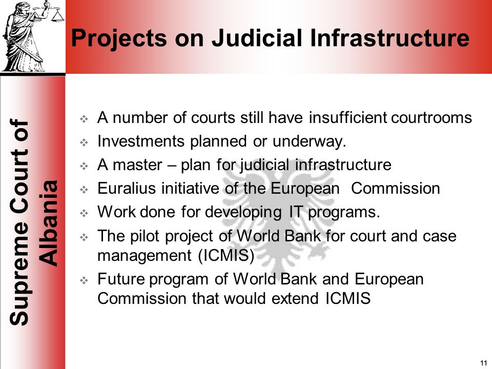 11 Supreme Court of Albania 11 Projects on Judicial Infrastructure A number of courts still have insufficient courtrooms Investments planned or underway.