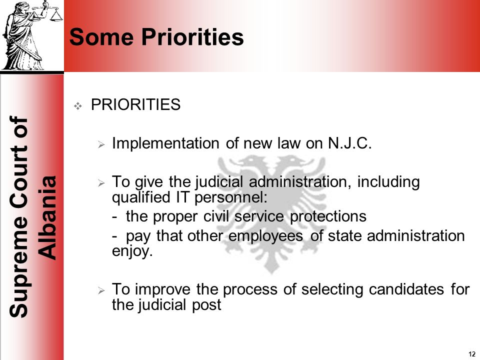 12 Supreme Court of Albania 12 Some Priorities PRIORITIES Implementation of new law on N.J.C.