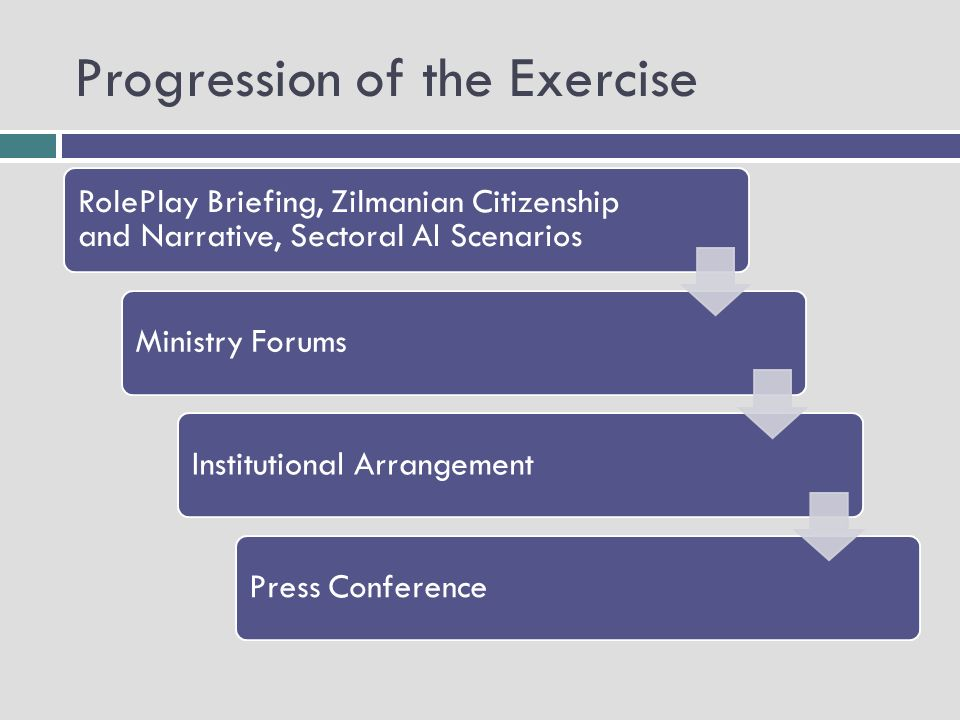 Progression of the Exercise RolePlay Briefing, Zilmanian Citizenship and Narrative, Sectoral AI Scenarios Ministry ForumsInstitutional ArrangementPress Conference