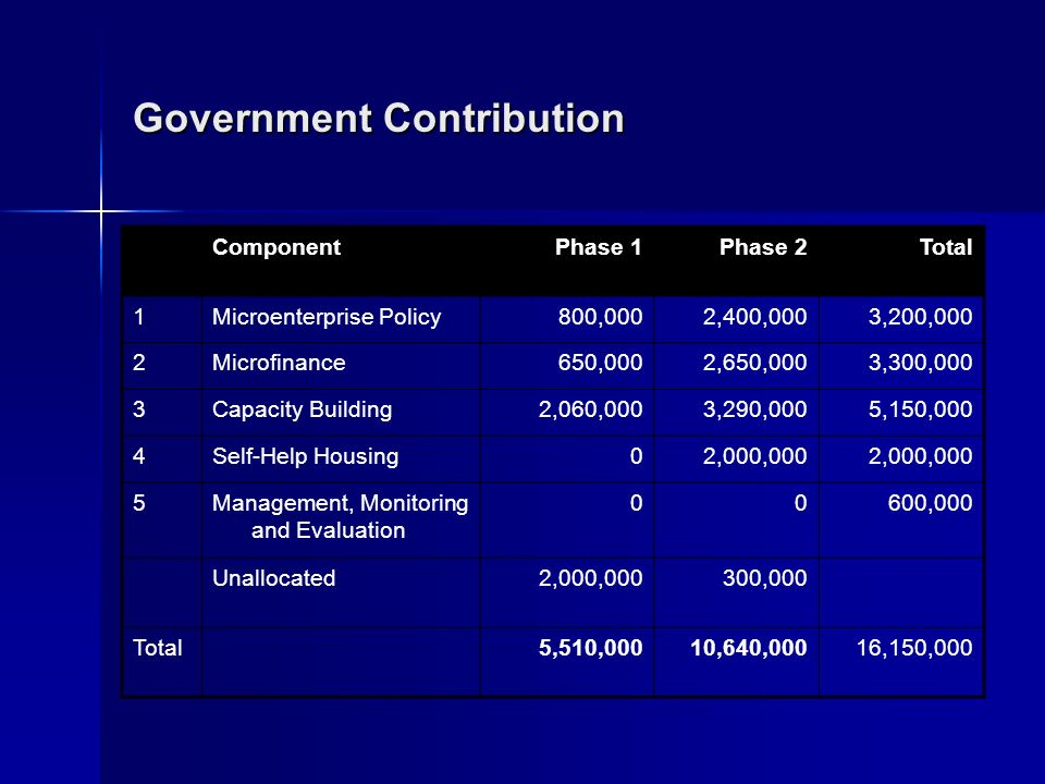 Government Contribution ComponentPhase 1Phase 2Total 1Microenterprise Policy800,0002,400,0003,200,000 2Microfinance650,0002,650,0003,300,000 3Capacity Building2,060,0003,290,0005,150,000 4Self-Help Housing02,000,000 5Management, Monitoring and Evaluation 00600,000 Unallocated2,000,000300,000 Total 5,510,00010,640,00016,150,000