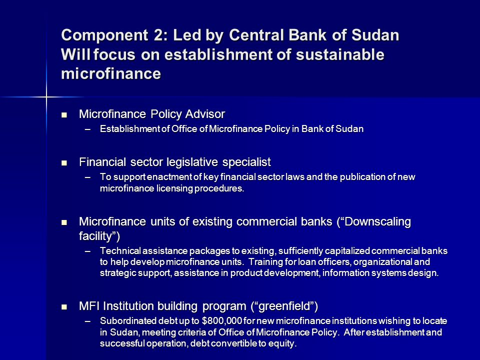 Component 2: Led by Central Bank of Sudan Will focus on establishment of sustainable microfinance Microfinance Policy Advisor Microfinance Policy Advisor –Establishment of Office of Microfinance Policy in Bank of Sudan Financial sector legislative specialist Financial sector legislative specialist –To support enactment of key financial sector laws and the publication of new microfinance licensing procedures.