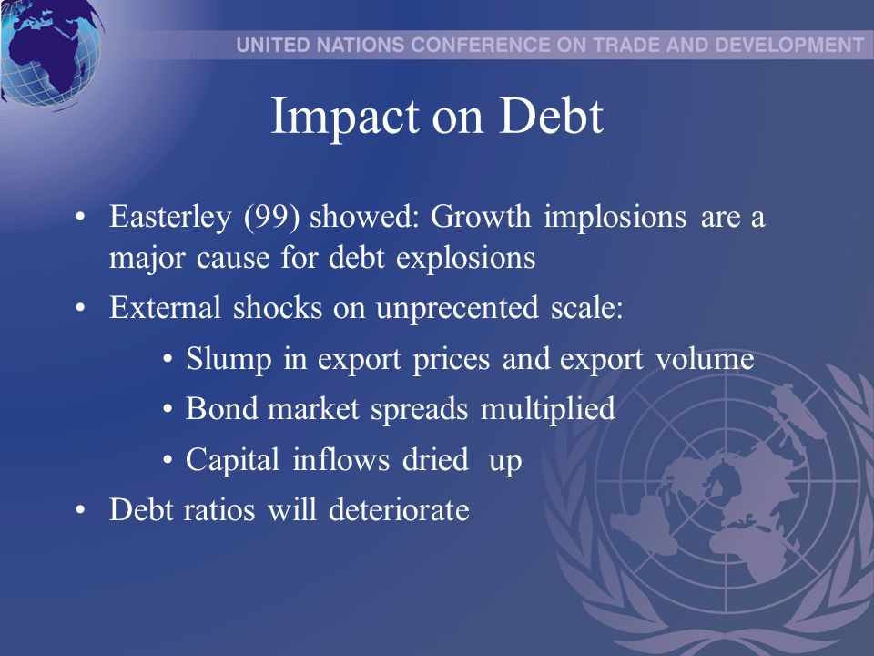 Impact on Debt Easterley (99) showed: Growth implosions are a major cause for debt explosions External shocks on unprecented scale: Slump in export prices and export volume Bond market spreads multiplied Capital inflows dried up Debt ratios will deteriorate