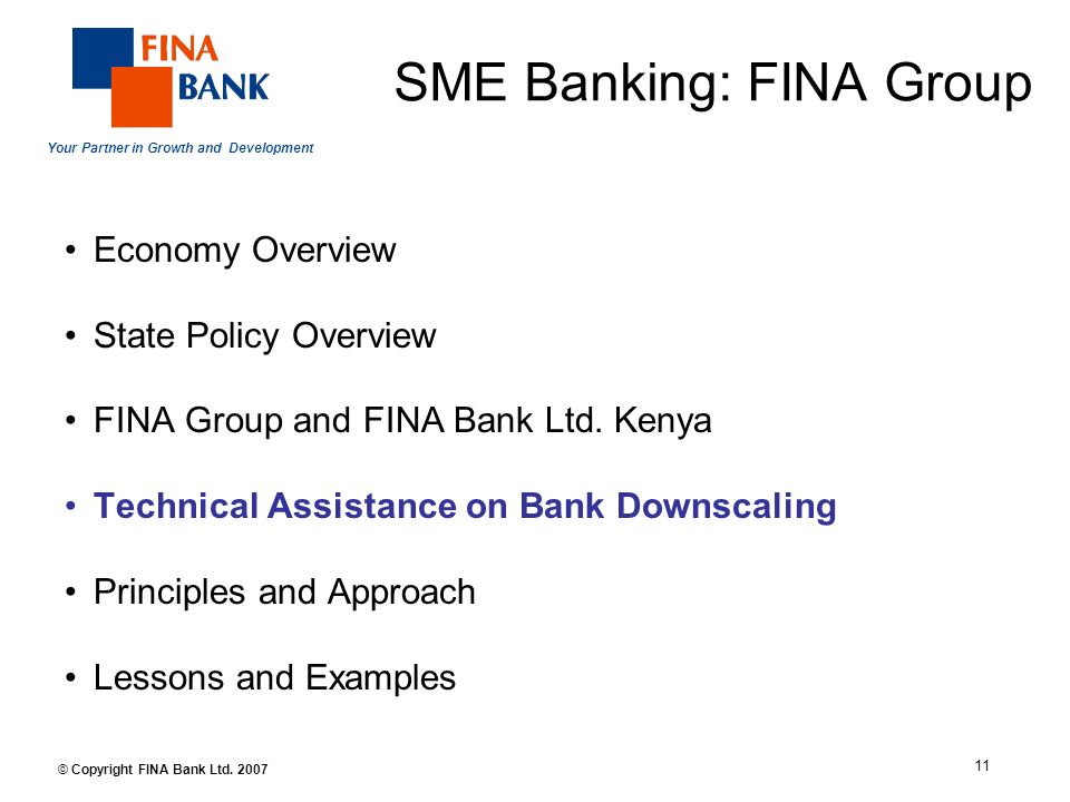 Your Partner in Growth and Development 11 © Copyright FINA Bank Ltd.