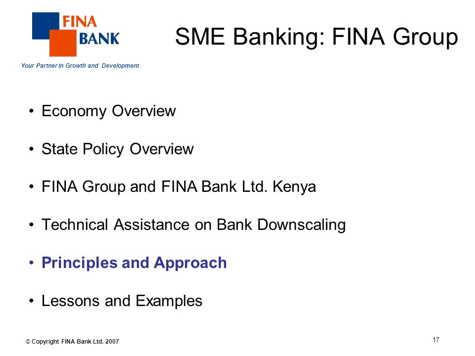 Your Partner in Growth and Development 17 © Copyright FINA Bank Ltd.
