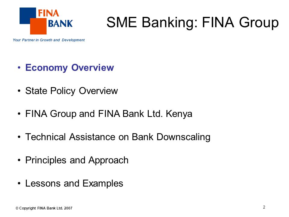 Your Partner in Growth and Development 2 © Copyright FINA Bank Ltd.
