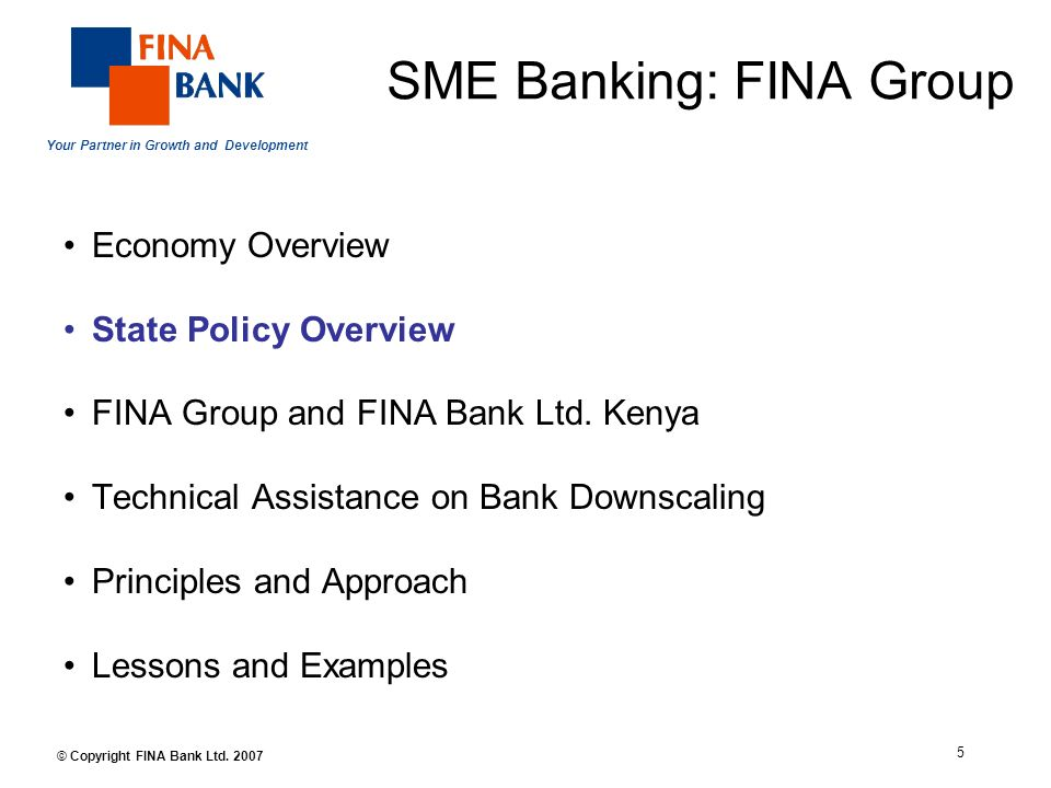 Your Partner in Growth and Development 5 © Copyright FINA Bank Ltd.