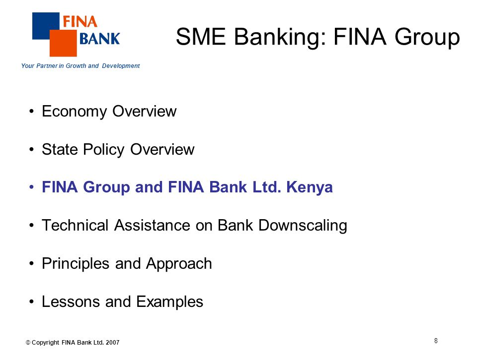 Your Partner in Growth and Development 8 © Copyright FINA Bank Ltd.