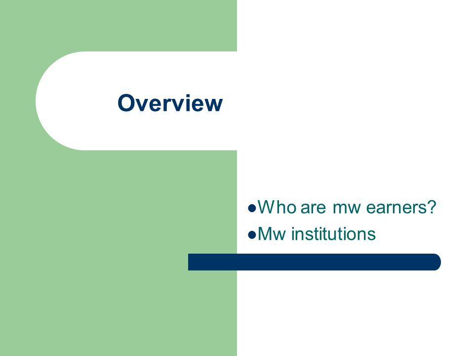Overview Who are mw earners Mw institutions