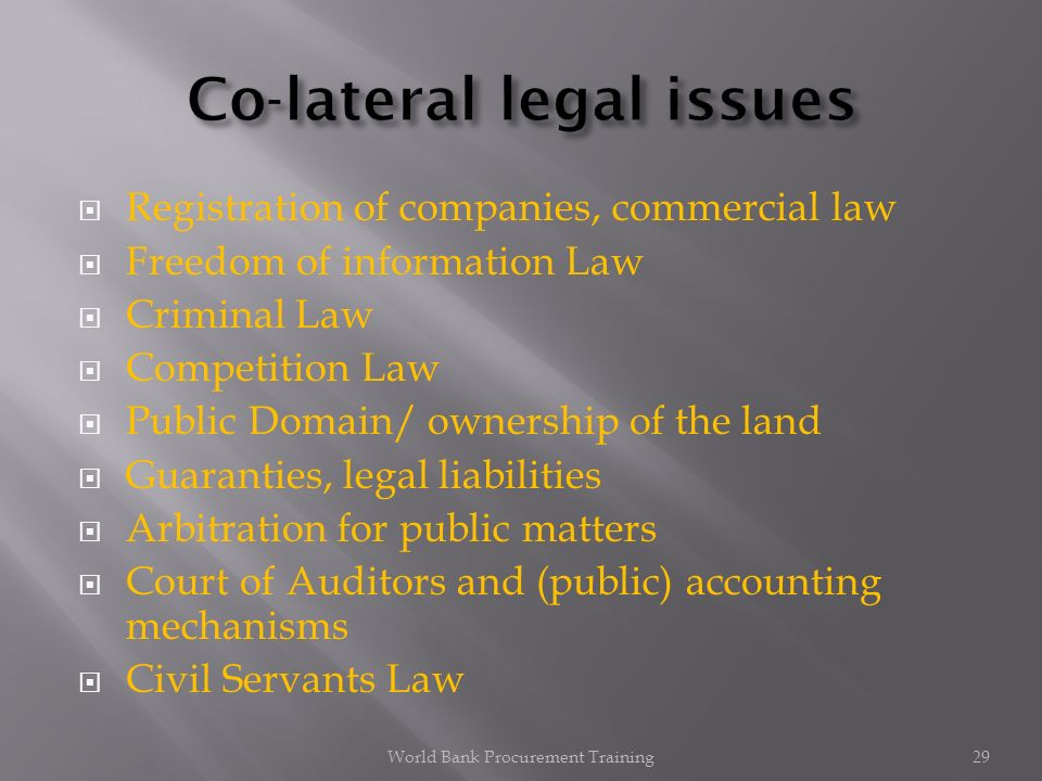 Registration of companies, commercial law Freedom of information Law Criminal Law Competition Law Public Domain/ ownership of the land Guaranties, legal liabilities Arbitration for public matters Court of Auditors and (public) accounting mechanisms Civil Servants Law World Bank Procurement Training29