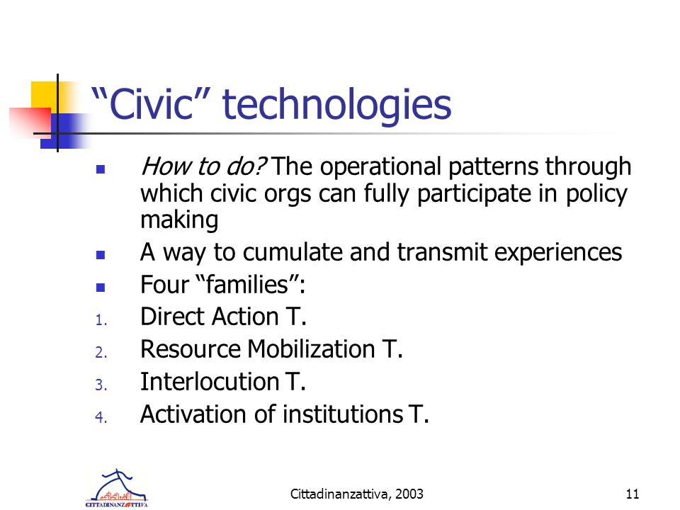 Cittadinanzattiva, 200311 Civic technologies How to do.