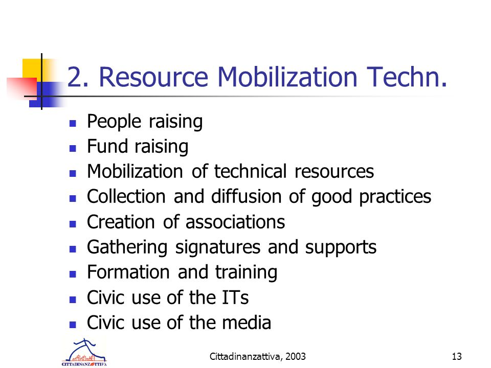 Cittadinanzattiva, 200313 2. Resource Mobilization Techn.