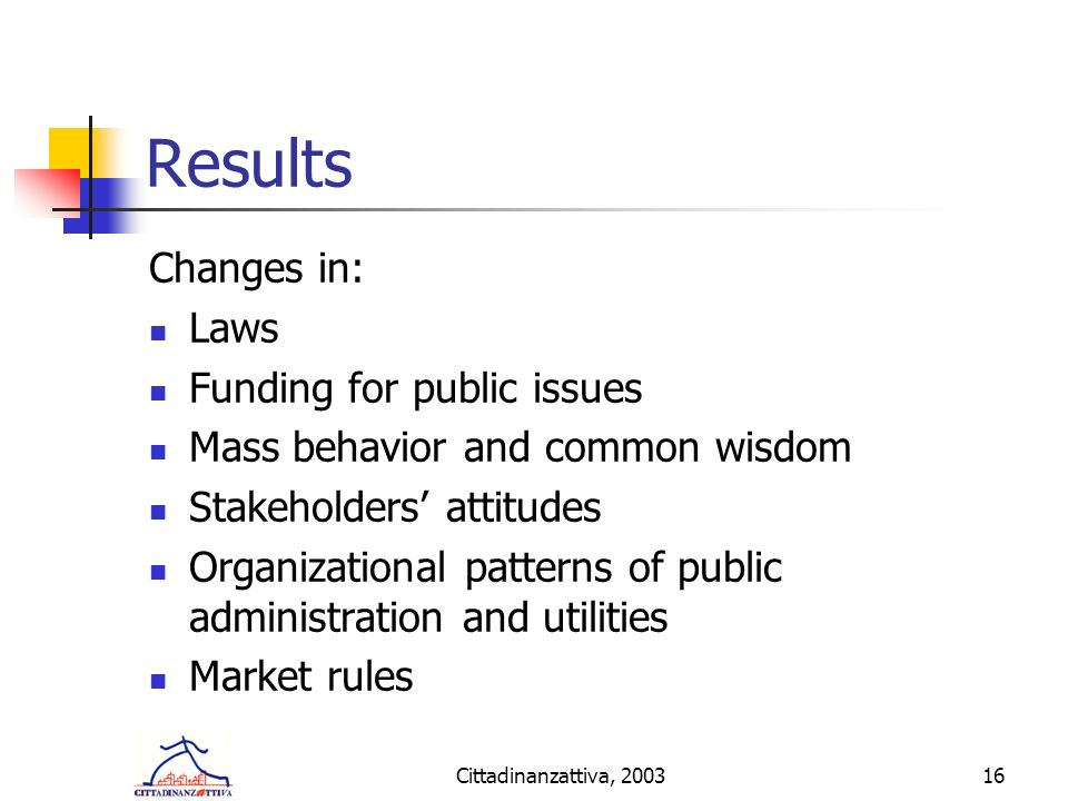 Cittadinanzattiva, 200316 Results Changes in: Laws Funding for public issues Mass behavior and common wisdom Stakeholders attitudes Organizational patterns of public administration and utilities Market rules