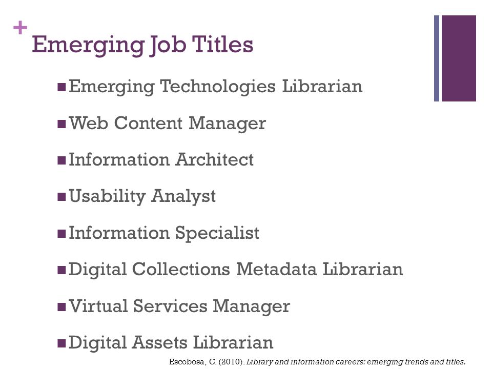 + Emerging Job Titles Emerging Technologies Librarian Web Content Manager Information Architect Usability Analyst Information Specialist Digital Collections Metadata Librarian Virtual Services Manager Digital Assets Librarian Escobosa, C.