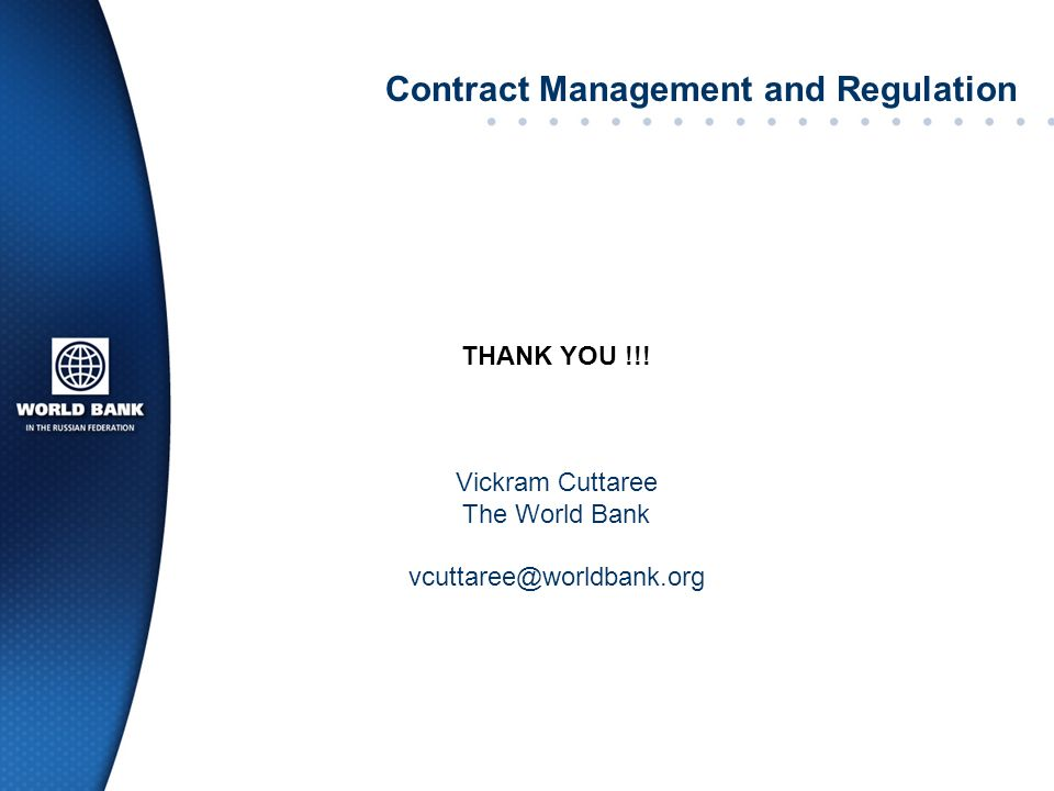 Contract Management and Regulation THANK YOU !!.