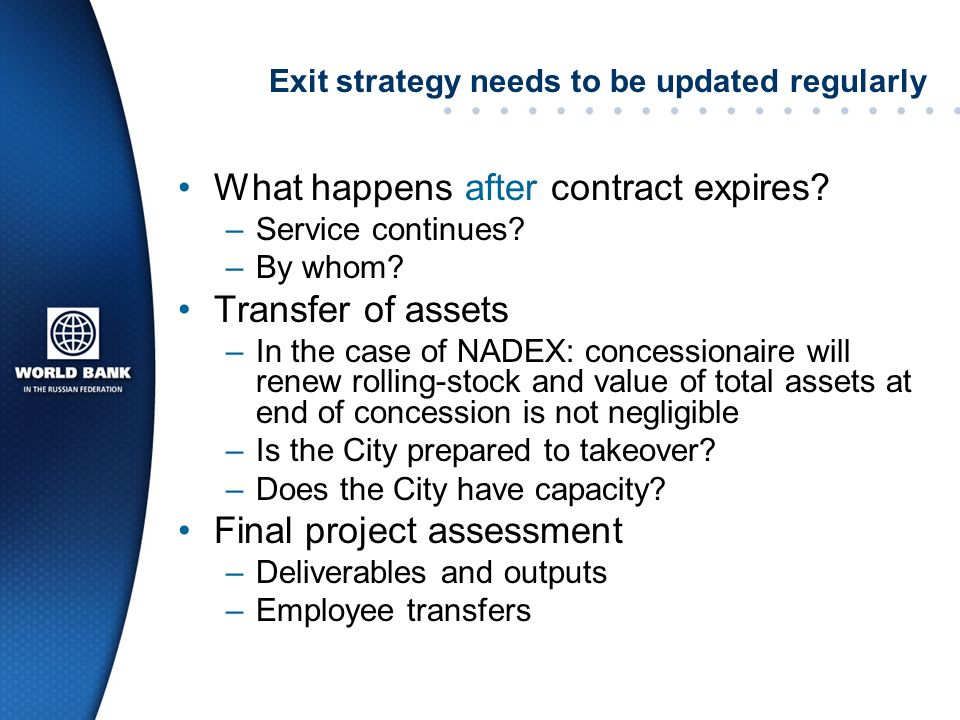 Exit strategy needs to be updated regularly What happens after contract expires.