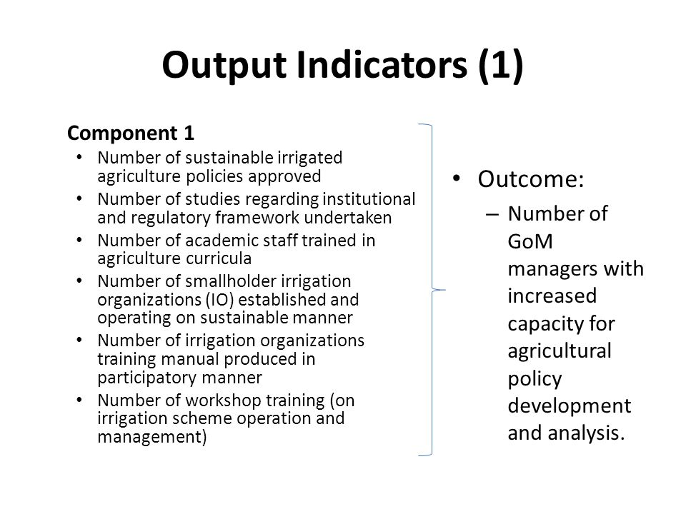 Output Indicators (1) Component 1 Number of sustainable irrigated agriculture policies approved Number of studies regarding institutional and regulatory framework undertaken Number of academic staff trained in agriculture curricula Number of smallholder irrigation organizations (IO) established and operating on sustainable manner Number of irrigation organizations training manual produced in participatory manner Number of workshop training (on irrigation scheme operation and management) Outcome: – Number of GoM managers with increased capacity for agricultural policy development and analysis.