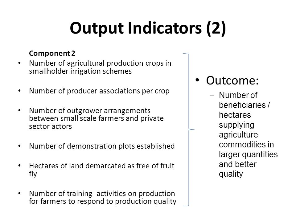 Output Indicators (2) Component 2 Number of agricultural production crops in smallholder irrigation schemes Number of producer associations per crop Number of outgrower arrangements between small scale farmers and private sector actors Number of demonstration plots established Hectares of land demarcated as free of fruit fly Number of training activities on production for farmers to respond to production quality Outcome: –Number of beneficiaries / hectares supplying agriculture commodities in larger quantities and better quality