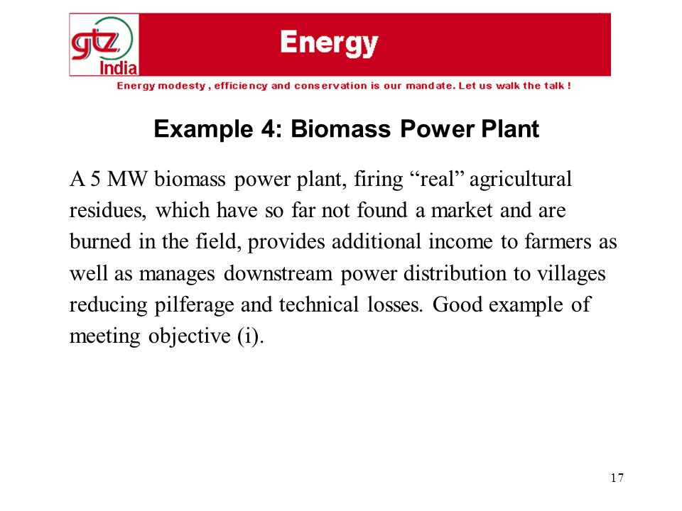 17 A 5 MW biomass power plant, firing real agricultural residues, which have so far not found a market and are burned in the field, provides additional income to farmers as well as manages downstream power distribution to villages reducing pilferage and technical losses.