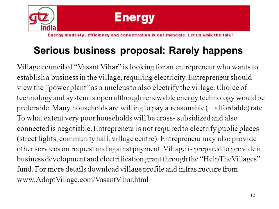 32 Village council of Vasant Vihar is looking for an entrepreneur who wants to establish a business in the village, requiring electricity.