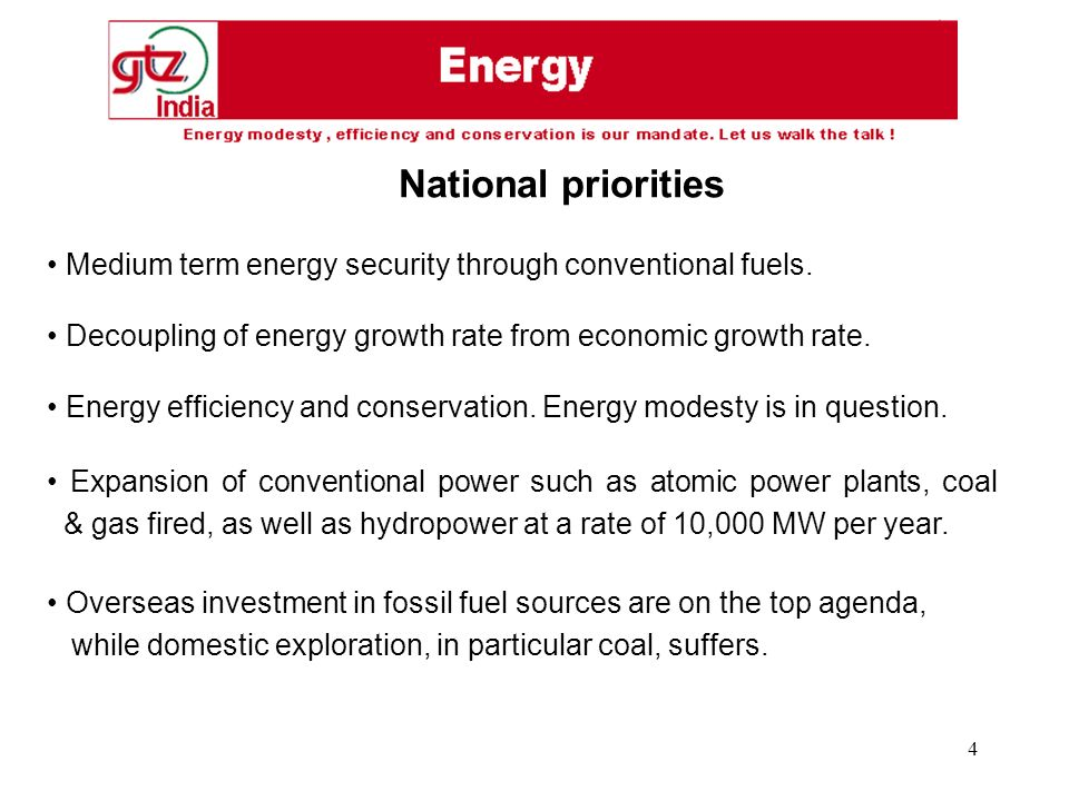 4 Medium term energy security through conventional fuels.