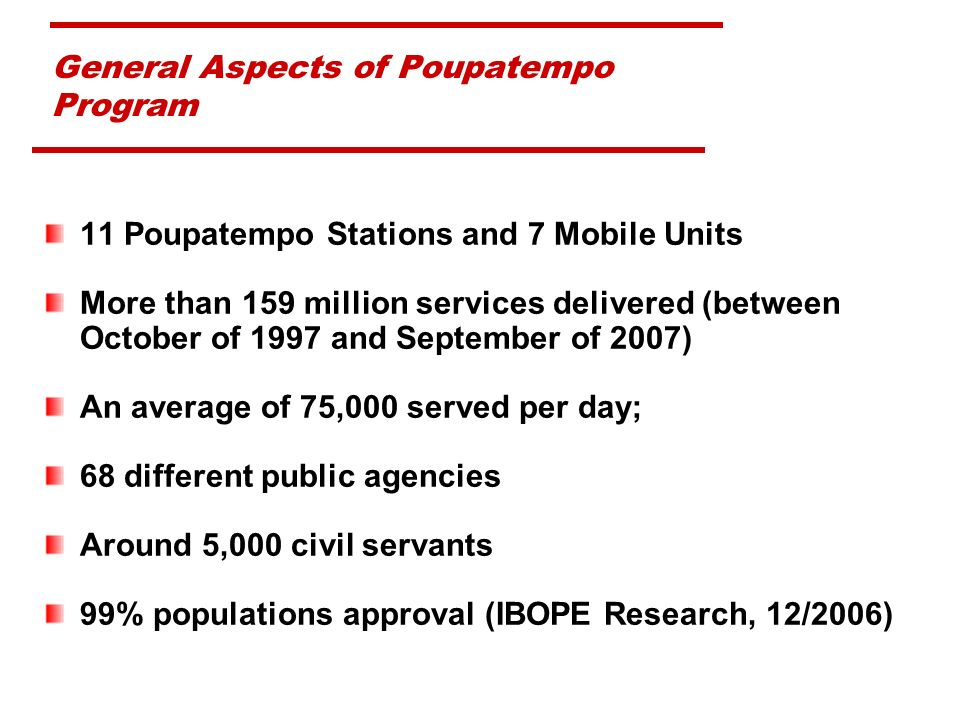 General Aspects of Poupatempo Program 11 Poupatempo Stations and 7 Mobile Units More than 159 million services delivered (between October of 1997 and September of 2007) An average of 75,000 served per day; 68 different public agencies Around 5,000 civil servants 99% populations approval (IBOPE Research, 12/2006)