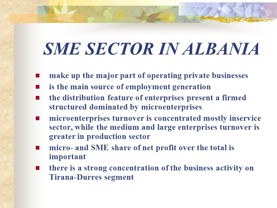SME SECTOR IN ALBANIA make up the major part of operating private businesses is the main source of employment generation the distribution feature of enterprises present a firmed structured dominated by microenterprises microenterprises turnover is concentrated mostly inservice sector, while the medium and large enterprises turnover is greater in production sector micro- and SME share of net profit over the total is important there is a strong concentration of the business activity on Tirana-Durres segment